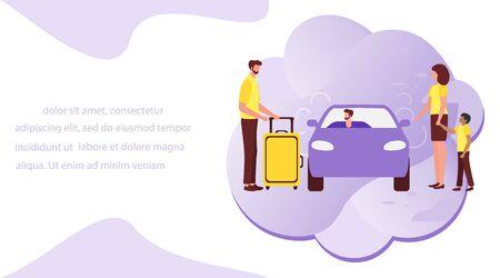 Ilustración vectorial La gente usa el servicio de taxi, viaje familiar, persona conduce a la gente, haciendo autostop sobre fondo blanco. Transporte urbano móvil. Cab business Diseño de conductor profesional para sitios web, impresión
