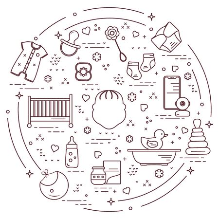 Vektorillustration mit Waren für Babys. Neugeborenes Baby Hintergrund. Babynippel, Socken, Windel, Body, Ente, Lätzchen, Babynahrungsdose, Pyramide, Rassel, Flasche, Kinderbett, Badewanne, Babyphone Fröhliche Kindheit