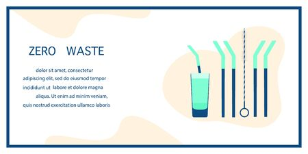 Vector illustration Reusable cocktail straws, brush for cleaning straws, glass Waste management concept. Choosing eco friendly lifestyle, using reusable products Design for website, print presentation