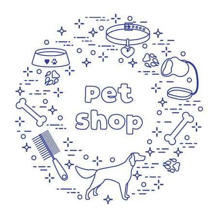 Vector illustration Dog, paw tracks, bone, bowl, collar, leash on white background. Pet shop, veterinary clinic, shelter concept. Animal background. Pet care accessory. Design for website, print Illusztráció