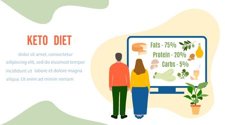 Vector illustration People Keto diet products on computer. Healthy lifestyle, proper nutrition. Fats, proteins, low carbs ketogenic diet food. Design for landing page, websites, print, presentation