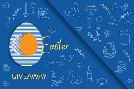 Vector illustration Easter egg, symbols Easter Giveaway Promotion Gift Sale template Festive background Shopping Advertising Surprise Hunt for Easter eggs. Fun game. Design for banner, poster or print