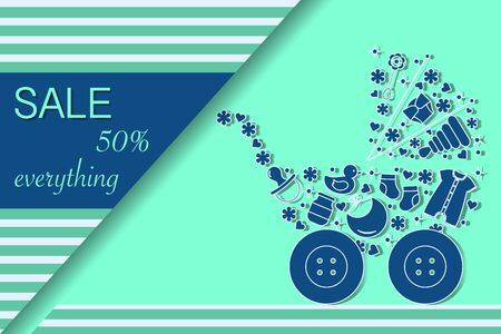 Vector illustration Baby stroller, goods for babies. Sale template Shop now Shopping background Big sale offer Price reduction advert Purchase Discount Advertising Design for banner, poster or print Фото со стока - 137827140