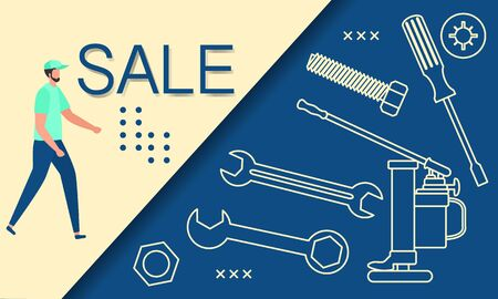 Vector illustration Repair Construction tools Sale template Shop now Shopping background Big sale offer Price reduction advert Purchase Discount Advertising Design for banner, poster or print Ilustrace