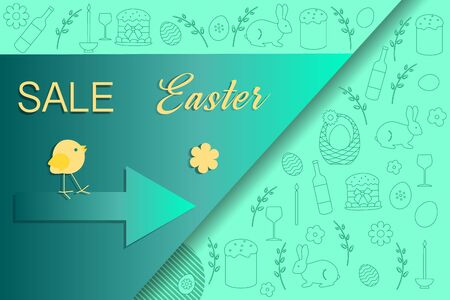 Vector illustration Easter egg, chick Easter Sale template Shop now Festive shopping background Big sale offer Price reduction advert Purchase Discount Advertising Design for banner, poster or print