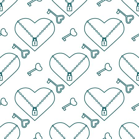 Vector seamless pattern Happy Valentines Day Heart with chain on the lock, keys. Romantic background. Love, relationship, dating concept. Greeting card. Design for banner, poster or print.