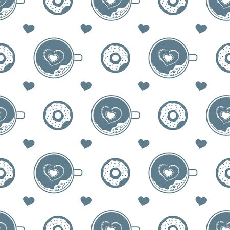 Vector seamless pattern Happy Valentines Day, Birthday, Wedding Mothers day Fathers day Heart, donut, cup of coffee with foam Romantic background Feelings Love Relationship Design for fabric, print  イラスト・ベクター素材