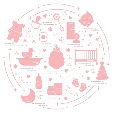 Vector illustration with goods for babies. Newborn baby background. Baby nipple, socks, diaper, bodysuit, duck, bib, baby food can, pyramid, rattle, bottle, crib, bathtub, baby monitor Happy childhood