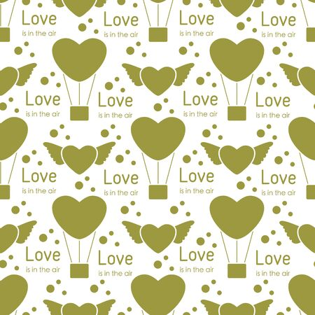 Vector seamless pattern Happy Valentine's Day, Wedding. Air balloon, heart with wings, inscription Love is in the air. Romantic background. Feelings Love Relationship concept. Design for fabric, print