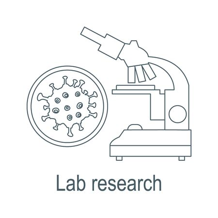 Vector illustration Microscope, microbe, virus, bacteria isolated on white background Laboratory equipment Biology, medicine, pharmacy, experiment Education Science day Design for app, websites, print