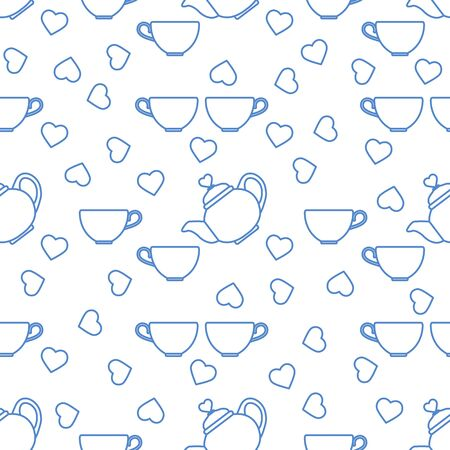 Vector seamless pattern Happy Valentine's Day Kettle, cup of tea, hearts. Romantic background. Love, relationship, dating concept. Greeting card. Design for party card, banner, poster or print.