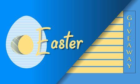 Ilustración vectorial Huevo de Pascua Sorteo Promoción Regalo Plantilla de venta Fondo festivo Compras Concepto de publicidad Búsqueda sorpresa de huevos de Pascua. Divertido juego. Diseño para pancarta, póster o impresión. Ilustración de vector