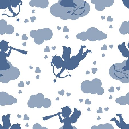 Vector seamless pattern Happy Valentine's Day Cupid shoots bow, angel sits on cloud, looks into a telescope, hearts, arrow Wedding Romance, feelings Love, relationship, dating concept Design for print Ilustração