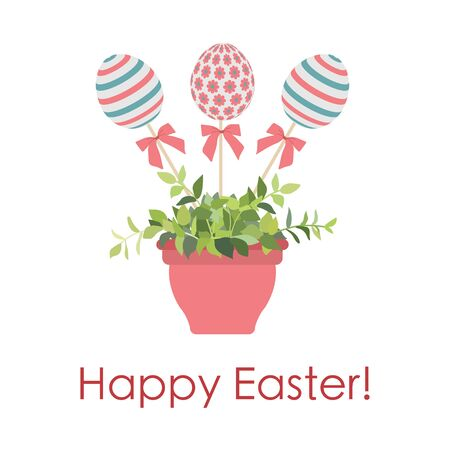 Vector illustration decorated Easter eggs on stick in flower pot with plant, inscription Happy Easter on white background. Festive. Hunt for eggs. Fun game for children Design for greeting card, print Foto de archivo - 138474688