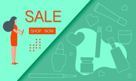 Vector illustration Decorative cosmetics, makeup. Sale template Shop now Shopping background Big sale offer Price reduction advert Purchase Discount Advertising Design for banner, poster or print