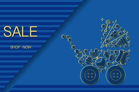 Vector illustration Baby stroller, goods for babies. Sale template Shop now Shopping background Big sale offer Price reduction advert Purchase Discount Advertising Design for banner, poster or print Vektorgrafik