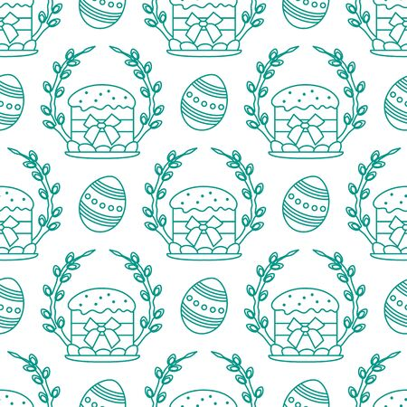 Vector seamless pattern Happy Easter. Easter cake, decorated eggs, willow twig. Festive background. Design for packaging, fabric, print.