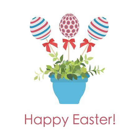 Vector illustration decorated Easter eggs on stick in flower pot with plant, inscription Happy Easter on white background. Festive. Hunt for eggs. Fun game for children Design for greeting card, print