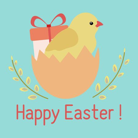 Vector illustration Happy Easter. Easter egg, chicken, gift, willow branches. Festive concept. Surprise. Hunt for Easter eggs. Fun game for children. Holiday Design for card, packaging, fabric, print