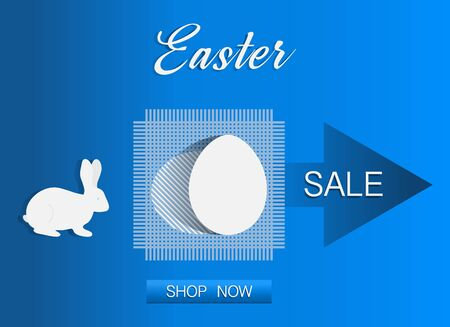 Vector illustration Easter egg, Bunny Easter Sale template Shop now Festive shopping background Big sale offer Price reduction advert Purchase Discount Advertising Design for banner, poster or print