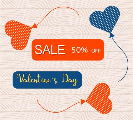 Vector illustration Heart shaped balloons Valentine's Day Sale Shopping background Big sale offer 50 percent off. Price reduction advert Purchase Discount Advertising Design for banner, poster, print