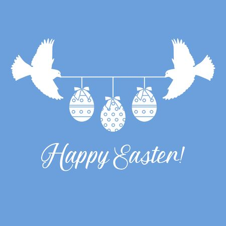Vector illustration Two birds hold rope with decorated Easter eggs with bows,inscription Happy Easter on color background. Festive background. Surprise Design for banner, poster or print Vettoriali