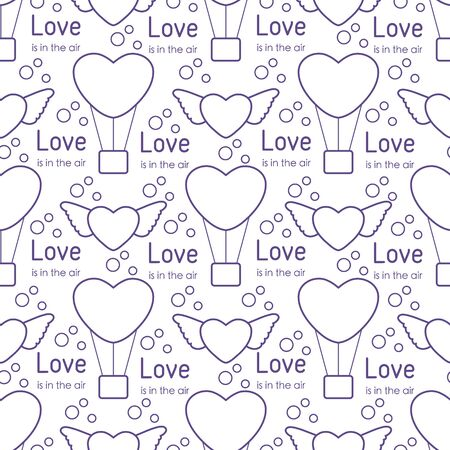 Vector seamless pattern Happy Valentine's Day, Wedding. Air balloon, heart with wings, inscription Love is in the air. Romantic background. Feelings Love Relationship concept. Design for fabric, print  イラスト・ベクター素材