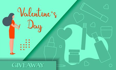 Vector illustration Decorative cosmetics, makeup Valentines Day Sale Giveaway template Shopping background Big sale offer Price reduction advert Purchase Discount Advertising Design for poster, print