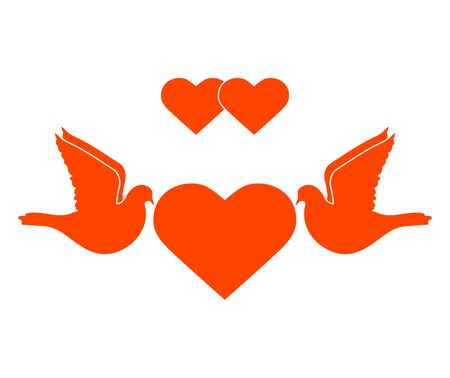 Vector illustration Couple of pigeon with heart Valentine's day, wedding, Birthday, Mother's day, Father's day Romantic background Flying dove bird Love concept Design for greeting card, fabric, print Standard-Bild - 139720870