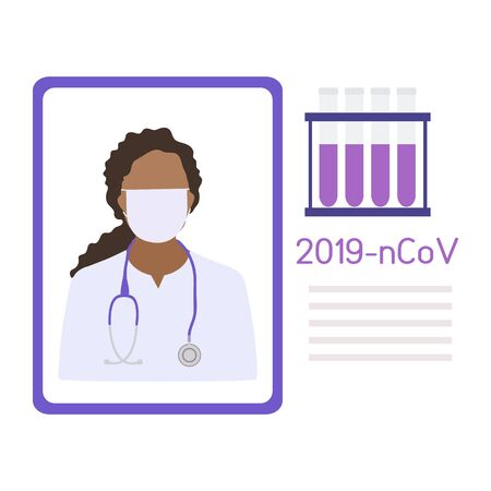 Vector illustration Doctor wearing breathing mask to protect from 2019-nCoV talks