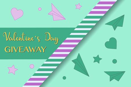 Vector illustration Valentines Day Sale Giveaway template Enter to win Shopping background Big sale offer Price reduction advert Purchase Discount Advertising Design for banner, poster, print Ilustrace