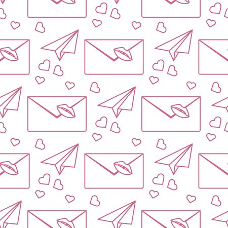 Vector seamless pattern Happy Valentines Day. Envelope with lipstick kiss, paper airplane, hearts. Love letter. Romantic background. Wedding, feelings. Relationship concept. Design for fabric, print 向量圖像