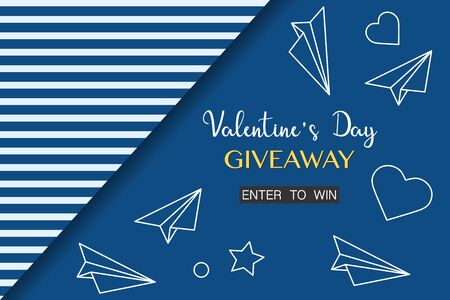 Vector illustration Valentines Day Sale Giveaway template Enter to win Shopping background Big sale offer Price reduction advert Purchase Discount Advertising Design for banner, poster, print Illustration