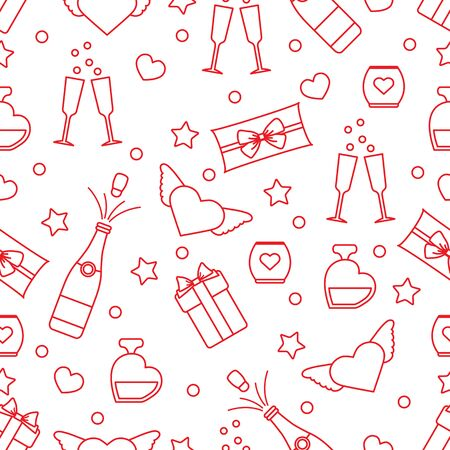 Vector seamless pattern Happy Valentines Day, Birthday, Wedding, Mothers day Gifts, glasses, bottle, perfume, candle, wings, hearts Romantic background Relationship concept. Design for fabric, print