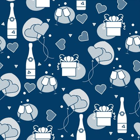 Vector seamless pattern Happy Valentines Day, Wedding, Birthday, Wedding, Mothers day Fathers day Heart shaped balloon, bottle, glasses, hearts, gift. Romantic background Feelings Love Relationship 向量圖像