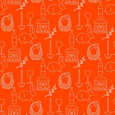 Vector seamless pattern Happy Easter. Candle, Easter cake, egg in basket, bunny, pussy-willow twig, bottle, glass. Festive background. Design for packaging, fabric, print.