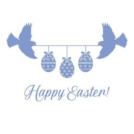 Vector illustration Two birds hold rope with decorated Easter eggs with bows,inscription Happy Easter on white background. Festive background. Surprise Design for banner, poster or print 일러스트