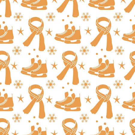 Vector seamless pattern Ice skates, scarf, snowflakes, stars. Winter holiday fun and entertainment concept. Ice skating rink. Sport. Design for packaging, fabric, print 일러스트