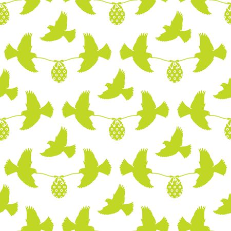 Vector seamless pattern Happy Easter Two birds hold rope with decorated Easter egg with bow on white background. Festive concept. Surprise. Design for packaging, fabric, print. 일러스트