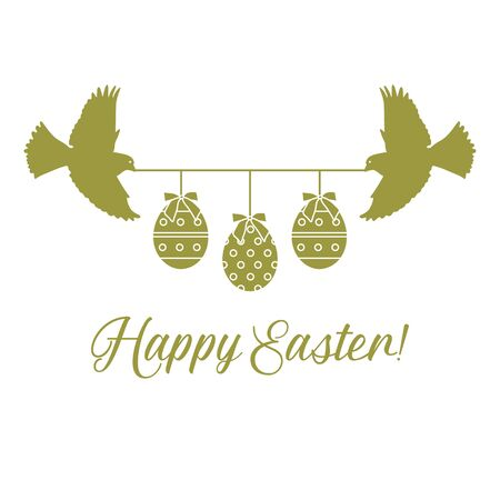 Vector illustration Two birds hold rope with decorated Easter eggs with bows,inscription Happy Easter on white background. Festive background. Surprise Design for banner, poster or print Çizim