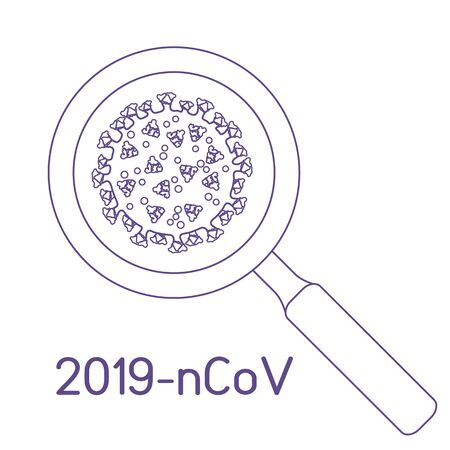 Vector illustration Magnifier, research   corona virus ncov, search for a cure.  pathogen respiratory coronavirus 2019-nCoV SARS pandemic risk alert Medicine Protect Design for web, print