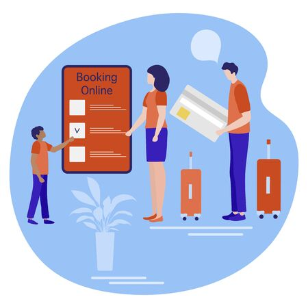 Vector illustration People with suitcases Online booking by smartphone Travel planning, payment. Summer time, holiday. Concept for online travel agency, booking service. Design for web page, print Ilustracja