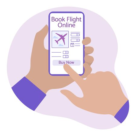 Vector illustration Online booking and payment for airline tickets People hands smartphone Travel. Summer time, holiday. Concept for online travel agency, booking service. Design for web page, print Ilustracja