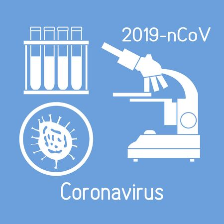 Vector illustration Microscope, research corona virus ncov, test tubes Protect from 2019-nCoV. pathogen respiratory coronavirus SARS pandemic risk alert Medicine Design for web, print