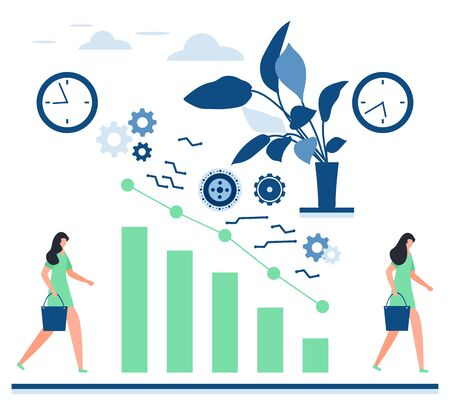 Vector illustration Human, Performance Chart. Declining people's productivity by the end of the day. Study of dynamics of workability, increase efficiency concept Design for website, app, print