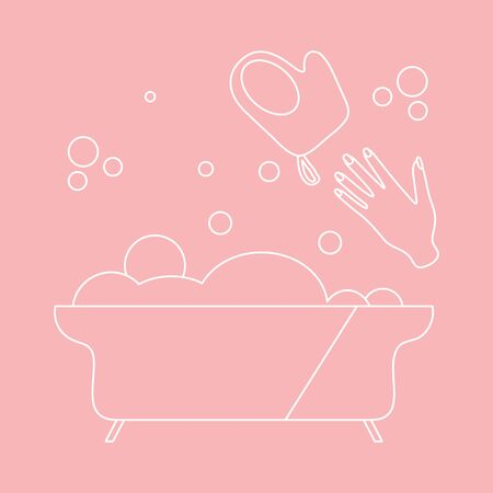 Vector illustration Bath, washcloth, hand, bubbles. Bathtub. Bathroom set, washing, bathing, cleanliness background. Bath time concept. Design for wrapping, fabric, print