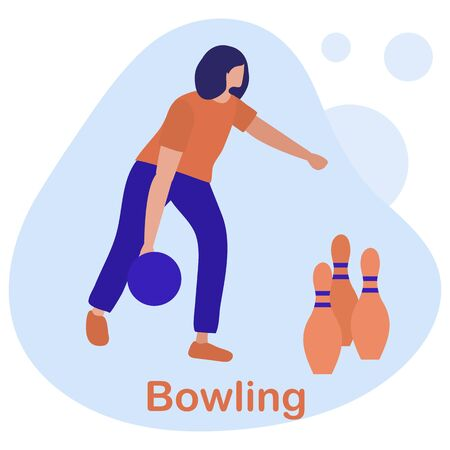 Vector illustration People play bowling. Bowling club center. Player Winner Sports theme. Game, hobby, entertainment. Design for banner, poster or print.