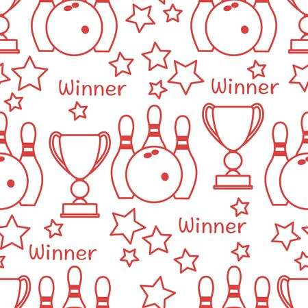 Seamless pattern with bowling pins and bowls, winner cup. Sports theme. Bowling Club Center Game, hobby, entertainment. Design for wrapping, fabric or print. Ilustração