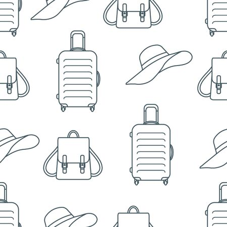 Vector travel seamless pattern Illustration with suitcase, sun hat, backpack. Summer time, vacation, holiday, leisure background. Concept for travel agency. Design wrapping, fabric, print