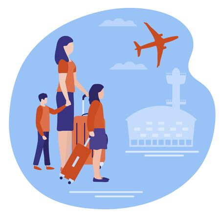Vector illustration. People with suitcases traveling on vacation. Travel. Summer time, holiday Airport, plane. Concept for travel agency, booking service. Design for web page, presentation, print. Ilustração